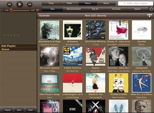 Interface de l'application des lecteurs de musique numérique Aurender Aurender App