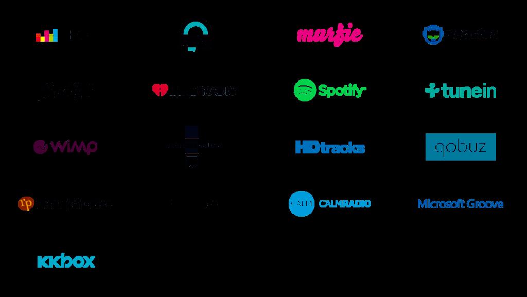 Services compatibles application BlueSound BlueOS