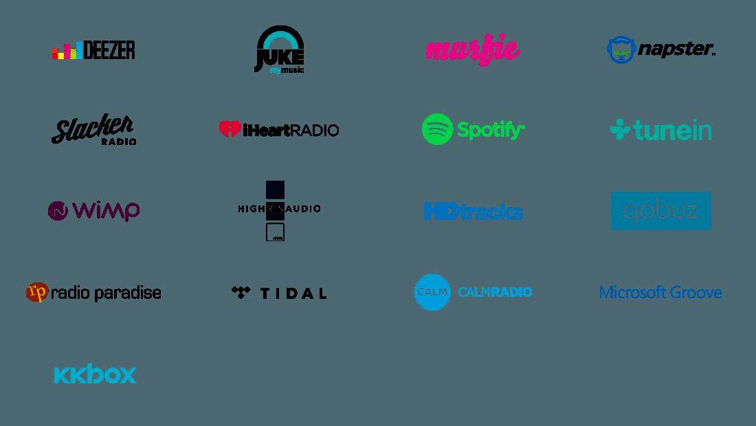 Services compatibles avec l'application BlueSound BlueOs