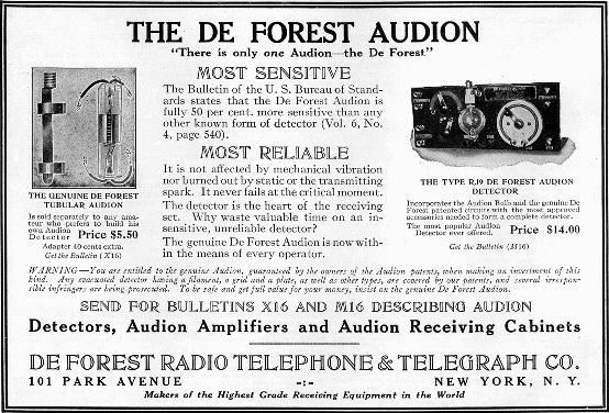 Publicité d'époque pour le tube Audion de Lee Forest